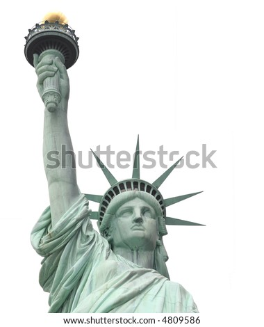 Statue of Liberty on Liberty Island in New York City. - isolated  on white background
