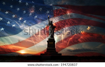 Statue of Liberty on the background of flag usa sunrise and fireworks