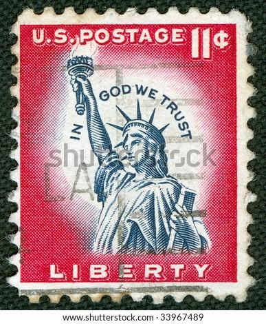 Statue of Liberty on US vintage postmark - stock photo