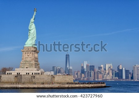 Statue of Liberty overlooking downtown Manhattan and the World Trade Center