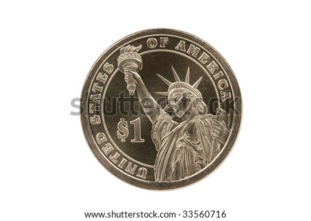 Statue of Liberty reverse of Presidential coin with clipping path - stock photo
