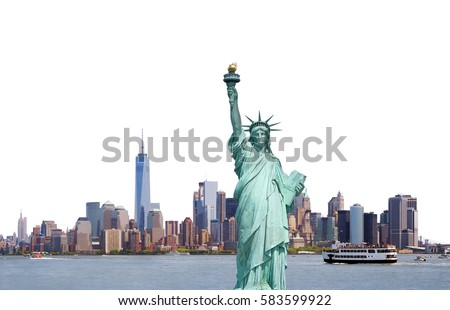 Statue of Liberty, Skyline of New York City isolated on white background, USA	 #583599922
