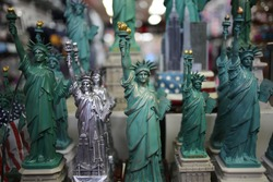 Statue of Liberty Souvenir Statues in a New York City Tourist Shop