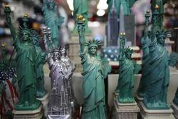 Statue of Liberty Souvenir Statues in a New York City Tourist Shop
