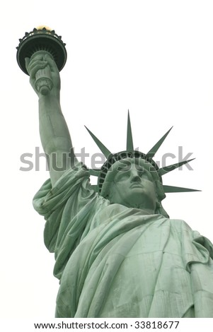 Statue of Liberty with torch on a white sky background