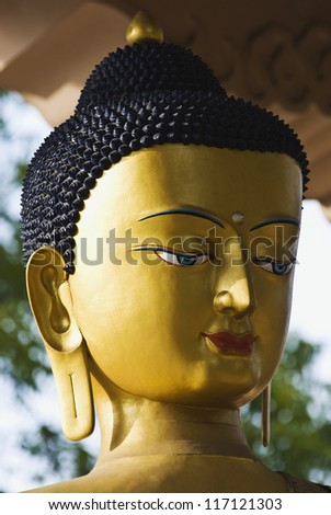 Statue of lord Buddha in a park, New Delhi, India