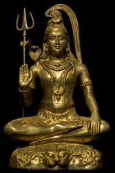 Statue of lord shiva isolated on black background, Hindu god, isolated, one of the 3 main gods in Hinduism.