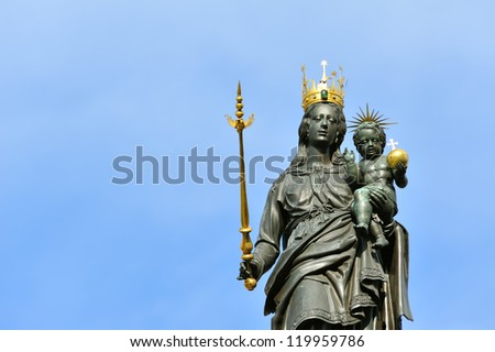 Statue of Madonna and Child in front of Constance Muenster Cathedral, Germany-Swiss