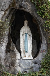 Statue of Mary, Grotto, Lourdes, France