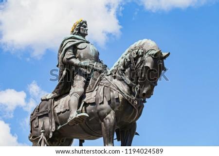 Statue of Matthias Rex in the city center of Cluj-Napoca, Romania #1194024589