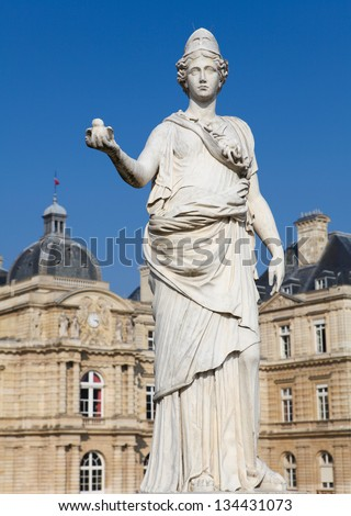 Statue of Minerva (equated with the Greek goddess Athena) in front of the French Senate at the Jardin de Luxembourg in Paris, France.