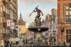 Statue of Neptune fountain in old town of Gdansk, Poland,