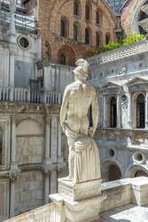 statue of Neptune - The Roman God of the Sea, located at the Giants Staircase at the Doges Palace (Palazzo Ducale). The statue represents Venice's power by sea.
