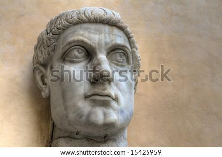 Statue of of the Roman Emperor Constantine. - stock photo