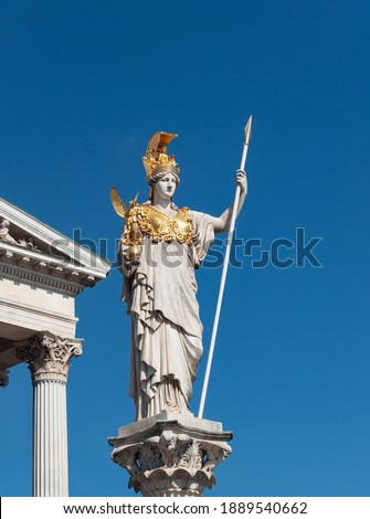 Statue of Pallas Athena in front of Austrian Parliament building (part of Pallas Athena fountain), Vienna, Austria Foto d'archivio ©