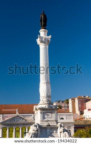Statue of Pedro IV in Rossio, Lisbon, Portugal