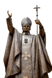 statue of Pope John Paul II at Assumption Cathedral, Thailand