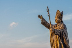 Statue of Pope John Paul II at the St. Thomas Mount National Shrine in Chennai shot during the golden hour.