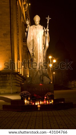 Statue of Pope John Paul II near Catedral Silesia, Poland, Katowice