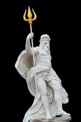 Statue Of Poseidon isolated on black background