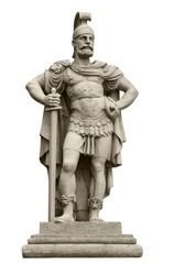 Statue of Roman god of war Mars, identical to Ares in Greek mythology. Isolated on white