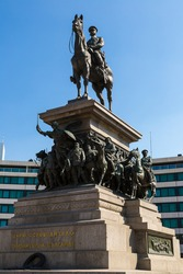 Statue of Russian king Alexander II, in Sofia, Bulgaria in a summer day