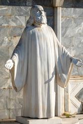 Statue of Saint Chrysostomos of Drama Smyrna, was the Greek Orthodox metropolitan of Drama city (1902-1910) and metropolitan bishop of Smyrna 1910 until his martyrdom in 1922. Drama city. Greece.