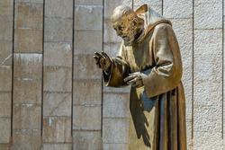 Statue of Saint Father Pious in the Shrine in San Giovanni Rotondo, in Apulia in Italy