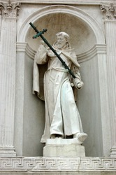 Statue of Saint Francis decorating the front of the Franciscan church of the Redentore on Guidecca, Venice.