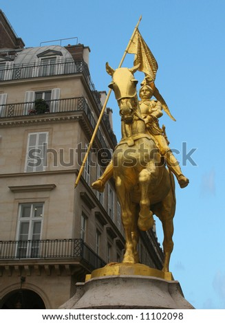 Statue of Saint Joan of Arc in Paris, France, known as the Maid of Orleans