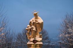 Statue of Saint John of Nepomuk or John Nepomucene in Sonntagberg, Mostviertel, Lower Austria by an anonymous artist from the min 18th century.