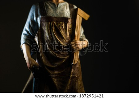 Statue of Saint Joseph - details in black and white and color Photo stock ©