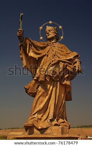 Statue of Saint Nepomuk at old main bridge in Wurzburg, Germany
