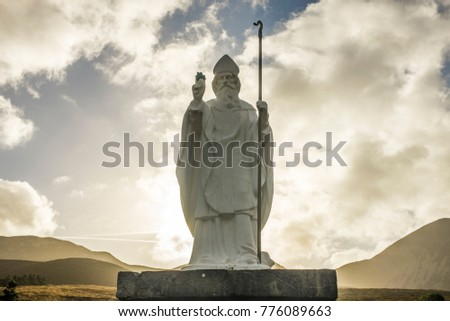 Statue of Saint Patrick at Croagh Patrick in Ireland