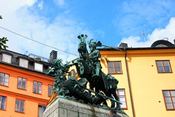 Statue of Sankt Goran and the Dragon in Stockholm, Sweden - a bronze copy of a wooden sculpture from Storkyran.