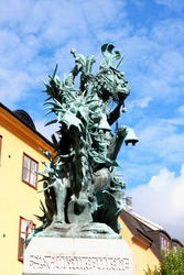 Statue of Sankt Goran with the Dragon in Stockholm, Sweden - a bronze copy of a wooden sculpture from Storkyran. The original was made by Bernt Notkes.