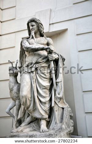 Statue of Shepherd Leading Animal