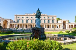 Statue of Sir Frederick Adam in front of the Palace of St. Michael and St. George in Corfu City on the island of Corfu, Greece.