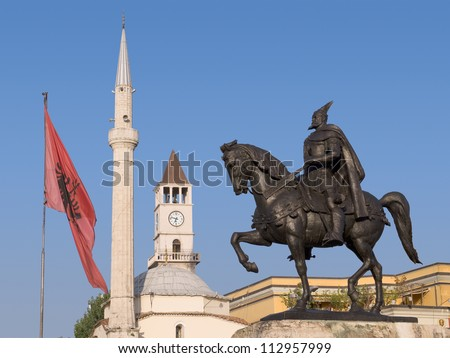 Albania Statue of Skanderbeg (national hero of the Albanians), Ethem Bey mosque and the Clock Tower in Skanderbeg Square, Tirana