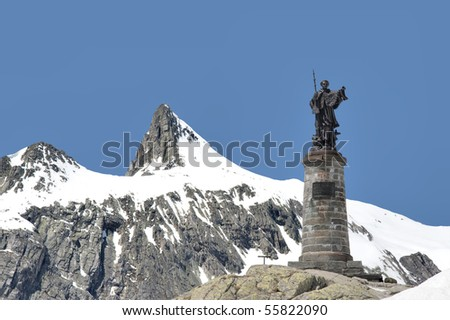 Statue of St Bernard on the top of the Grand St Bernard pass, at the border of Italy and Switzerland