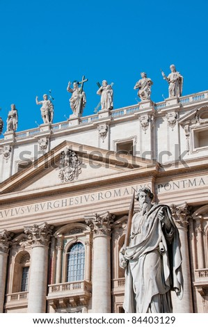 Statue of St. Paul in front of St. Peter's Basilica