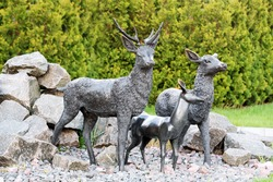Statue of the deer in the park. Male deer protecting his family