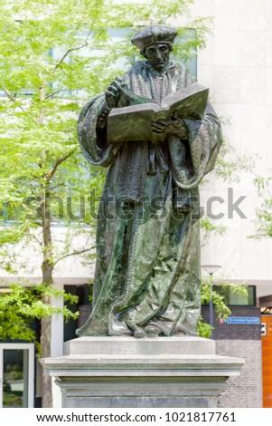 Statue of the Dutch Renaissance humanist Erasmus of Rotterdam at Grotekerkplein, Rotterdam, Netherlands