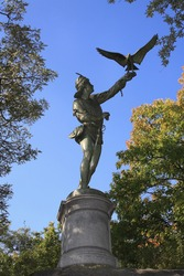 Statue of the Falconer located in Central Park in New York City.