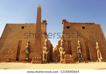 Statue of the great egyptian Pharaoh in luxor temple ,Egypt Stock photo ©