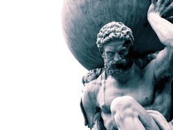 Statue of the Greek God Atlas holding the globe on his shoulders.  With colour toning