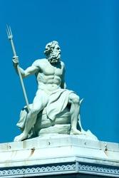 Statue of the Greek god of the sea, Poseidon, located in the port of Copenhagen