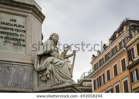 Statue of the King David at the base of  the Colonna della Immacolata (Column of the Immaculate Conception) in Piazza Mignanelli, Rome, Italy #692058244