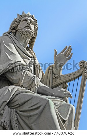Statue of the King David on the base of  a Column  of the Immaculate Conception, Rome, Italy #778870426