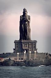 Statue of the poet Thiruvalluvar, author of the Thirukkural. Kanyakumari, India.